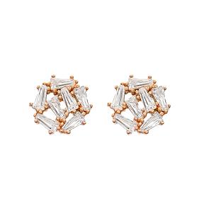 Baguette Stud Earrings Wholesale Turkish Handmade 925 Sterling Silver Jewelry