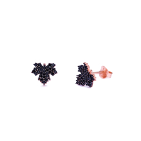 Unique Leaf Style Black Zircon 925 Sterling Silver Stud Earring Turkish Wholesale Handcrafted Jewelry