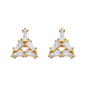 Gold Plated Baguette Stud Earrings Turkish Handmade 925 Sterling Silver Wholesale Jewelry