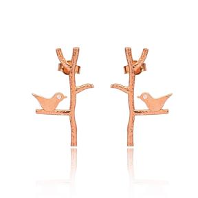Push Back Bird Earrings Turkish Wholesale 925 Sterling Silver Jewelry