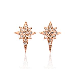 Pole Star Stud Earrings Turkish Wholesale 925 Sterling Silver Jewelry