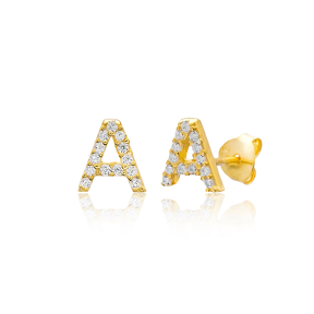 Stud A Alphabet Earrings Turkish Wholesale 925 Sterling Silver Jewelry