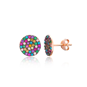 Rainbow Rounded Stud Silver Earring Wholesale 925 Sterling Silver Jewelry