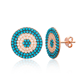 Evil Eye Rounded Stud Silver Earring Wholesale 925 Sterling Silver Jewelry