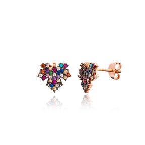 Minimal Grape Leaf Stud Silver Earring Wholesale 925 Sterling Silver Jewelry