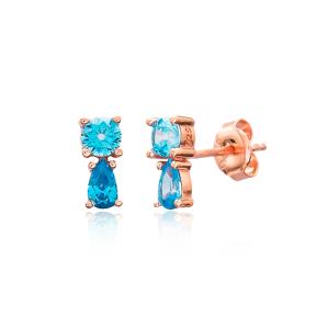 Aquamarine Stone Stud Earring Wholesale 925 Sterling Silver Jewelry