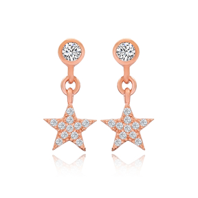 Star Design Stud Earrings Turkish Wholesale 925 Sterling Silver Jewelry