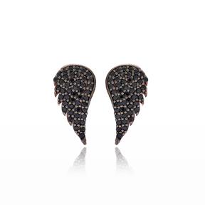 Wing Design Stud Earrings Turkish Wholesale 925 Sterling Silver Jewelry