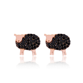 Sheep Stud Earring Turkish Handmade 925 Sterling Silver Jewelry