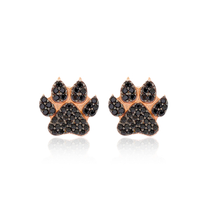 Paw Design Stud Earring Turkish Handmade 925 Sterling Silver Jewelry