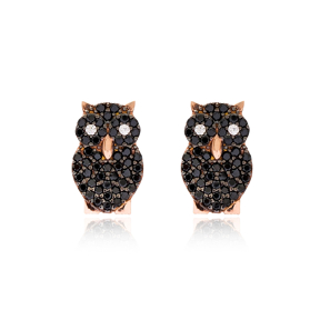 Owl Design Stud Earring Turkish Handmade 925 Sterling Silver Jewelry