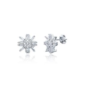 Snowflake Design Turkish Wholesale Handmade 925 Sterling Silver Earrings