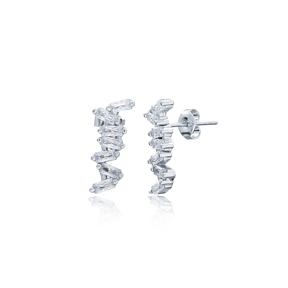 Zigzag Shape Earrings Turkish Wholesale Handmade 925 Sterling Silver Jewelry