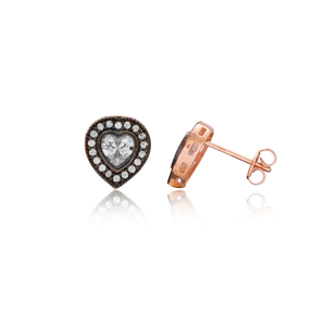 Trendy Heart Earring Turkish Wholesale Handmade 925 Sterling Silver Jewelry
