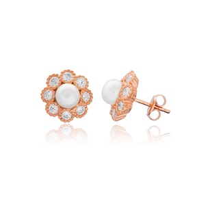 Pearly Stone Earring Turkish Wholesale Handmade 925 Sterling Silver Jewelry