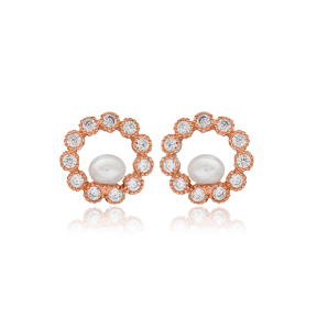 Pearly Round Design Earring Turkish Wholesale Handmade 925 Sterling Silver Jewelry