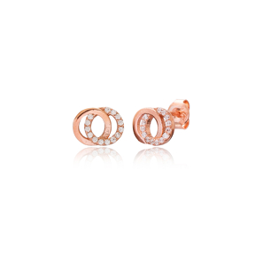 Double Round Earring Turkish Wholesale Handmade 925 Sterling Silver Jewelry