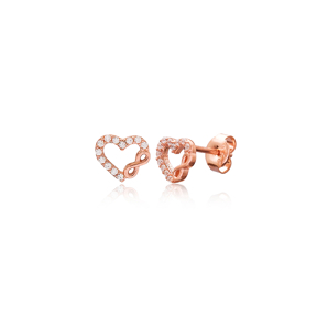 Infinity and Heart Earring Turkish Wholesale Handmade 925 Sterling Silver Jewelry