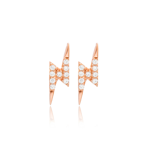 Lightning Design Stud Earrings Turkish Wholesale 925 Sterling Silver Jewelry