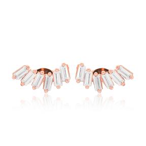 Baguette Design Stud Earrings Turkish Wholesale 925 Sterling Silver Jewelry