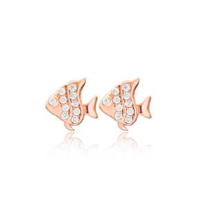 Fish Design Stud Earrings Turkish Wholesale 925 Sterling Silver Jewelry