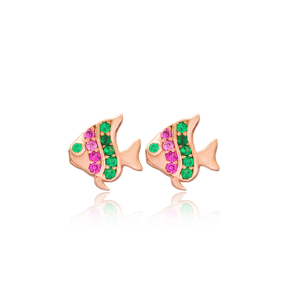 Colorful Fish Design Stud Earrings Turkish Wholesale 925 Sterling Silver Jewelry