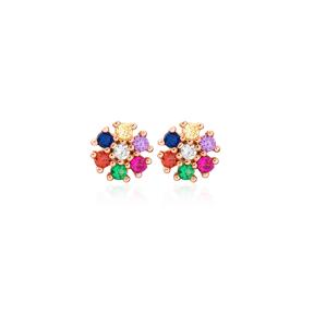 Minimalist Rainbow Flower Design Stud Earrings Turkish Wholesale 925 Sterling Silver Jewelry