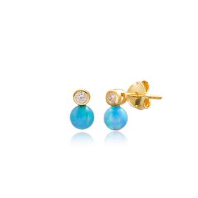 Blue Ball Design Stud Earrings Wholesale Turkish Sterling Silver Jewelry