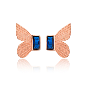 Butterfly Design Sapphire Stone Stud Earrings Turkish Handmade Wholesale 925 Sterling Silver Jewelry