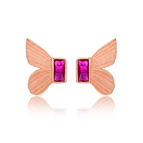 Butterfly Design Ruby Stone Stud Earrings Turkish Handmade Wholesale 925 Sterling Silver Jewelry