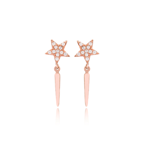 Thin Rod Star Design Stud Earrings Turkish Handmade Wholesale 925 Sterling Silver Jewelry