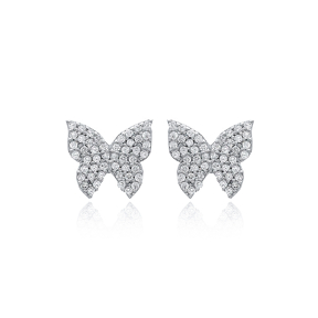 Unique Butterfly Design Stud Earrings Turkish Handmade Wholesale 925 Sterling Silver Jewelry