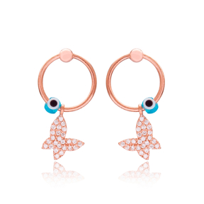 Butterfly Evil Eye Hollow Earrings Turkish Handmade Wholesale 925 Sterling Silver Jewelry