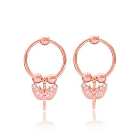 Hollow Earrings Sword Angel Wings Design Handmade Wholesale Turkish 925 Sterling Silver Jewelry