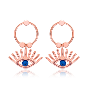 Evil Eye Turkish Handcrafted Wholesale 925 Sterling Silver Hollow Earrings