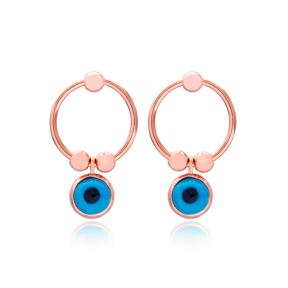 Dainty Evil Eye Design Hollow Earrings Turkish Wholesale 925 Sterling Silver Jewelry