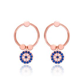 Turkish Evil Eye Design Wholesale 925 Sterling Silver Hollow Earrings