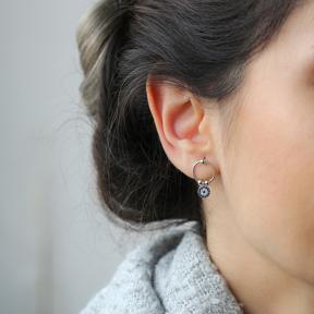 Turkish Evil Eye Design Jewelry Wholesale 925 Sterling Silver Hollow Earrings