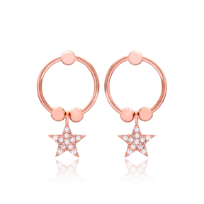 Star Design CZ Hollow Earrings Turkish Wholesale 925 Sterling Silver Jewelry
