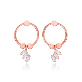Dainty Design CZ Hollow Earrings Turkish Wholesale 925 Sterling Silver Jewelry