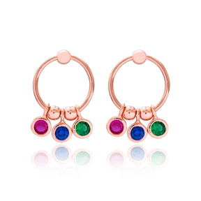 Colorful Zircon Dainty Design Hollow Earrings Turkish Wholesale 925 Sterling Silver Jewelry