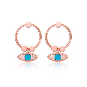 Eye Design Hollow Earrings Handmade Turkish Wholesale 925 Sterling Silver Jewelry