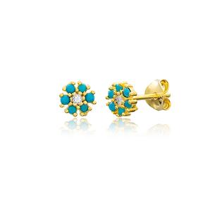 Turquoise Minimalist Flower Design Stud Earrings Turkish Wholesale 925 Sterling Silver Jewelry