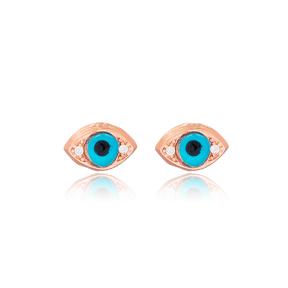 Evil Eye Design Minimal Stud Earrings Wholesale Turkish 925 Sterling Silver Jewelry