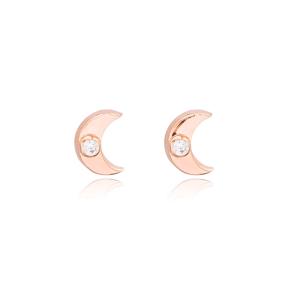 Moon Crescent Minimal Design Wholesale Turkish Sterling Silver Stud Earrings