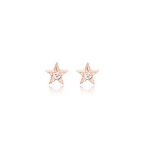 Star Design Minimal Stud Earrings Turkish Wholesale Sterling Silver Jewelry