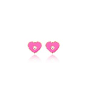 Pink Enamel Heart Design Stud Earrings Turkish Wholesale Sterling Silver Jewelry