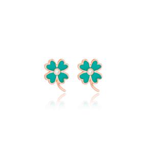 Four Leaf Clover Design Enamel Stud Earrings Handmade Wholesale Sterling Silver Jewelry