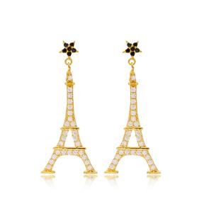 Eiffel Tower Design Silver Star Stud Earrings Wholesale Turkish Sterling Silver Jewelry