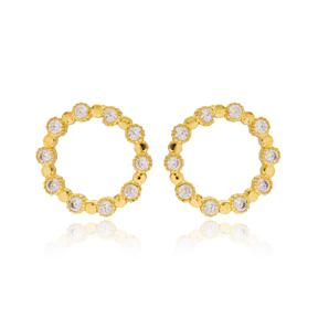 Hoop Elegant Round Design Stud Earrings Turkish Wholesale 925 Sterling Silver Jewelry